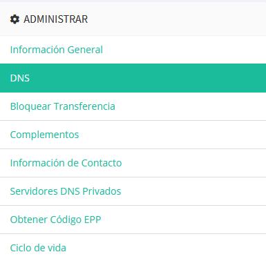 Acceder a la sección de DNS de un dominio desde el área de cliente