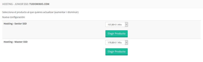 Elegir producto desde el área de cliente de LucusHost