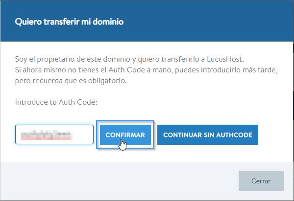 Introducir authcode para transferir un dominio a LucusHost
