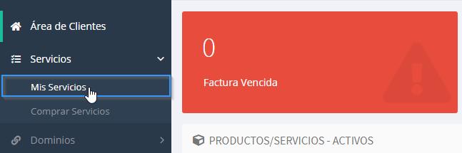 Sección servicios del área de cliente de LucusHost