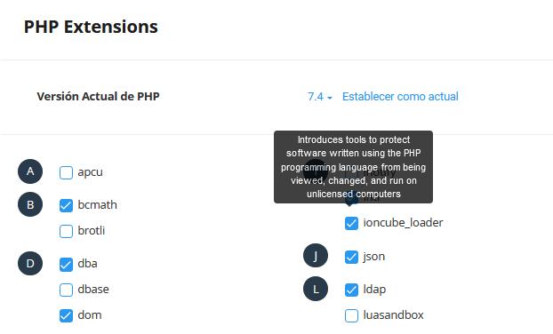Asignar módulos a una versión de PHP