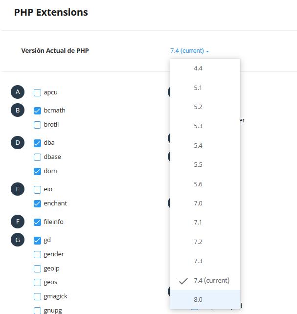 Cambiar la versión de PHP en cPanel a PHP 8