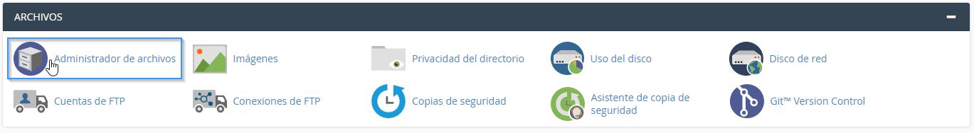 Acceso al administrador de archivos de cPanel