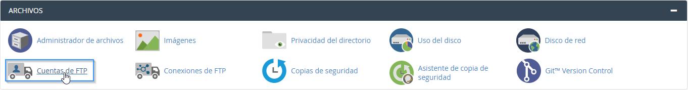 Sección Cuentas de FTP en cPanel