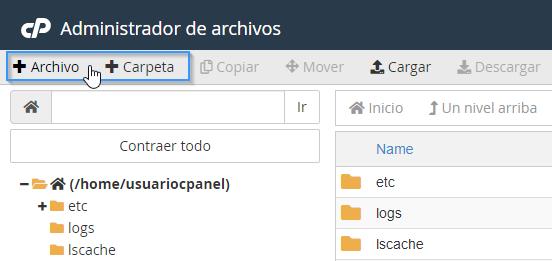 Crear nuevo fichero en el administrador de archivos de cPanel