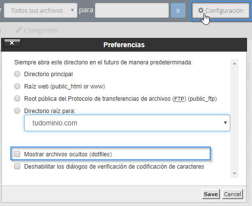 Configuración del administrador de archivos de cPanel