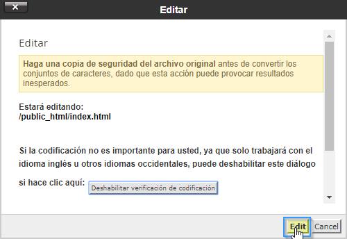 Editar un fichero en el administrador de archivos de cPanel