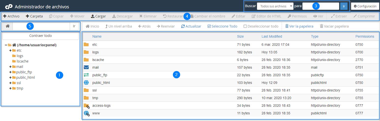 Secciones del administrador de archivos de cPanel