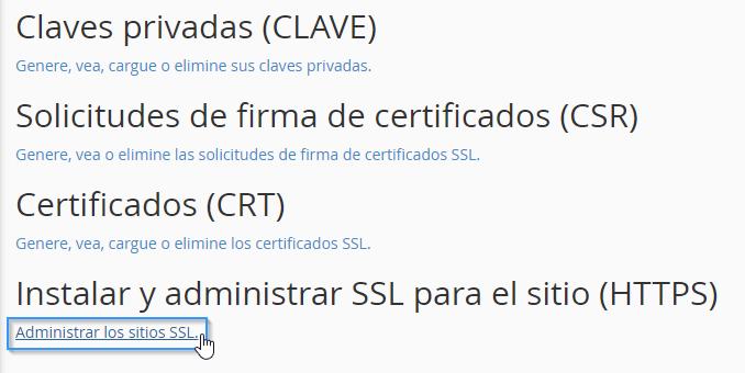 Activar un certificado SSL cPanel
