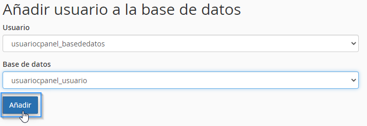 Añadir unn usuario a una base de datos MySQL de cPanel