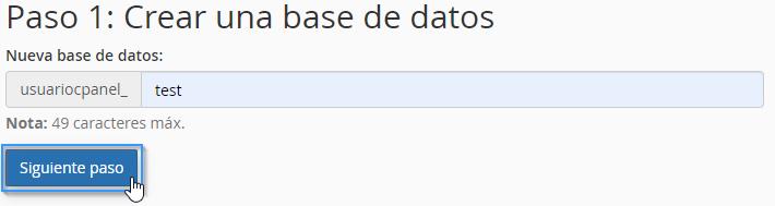 Introducir nombre de la base de datos en el asistente de cPanel