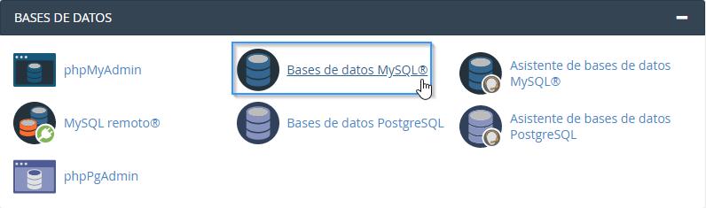 Sección bases de datos MySQL cPanel