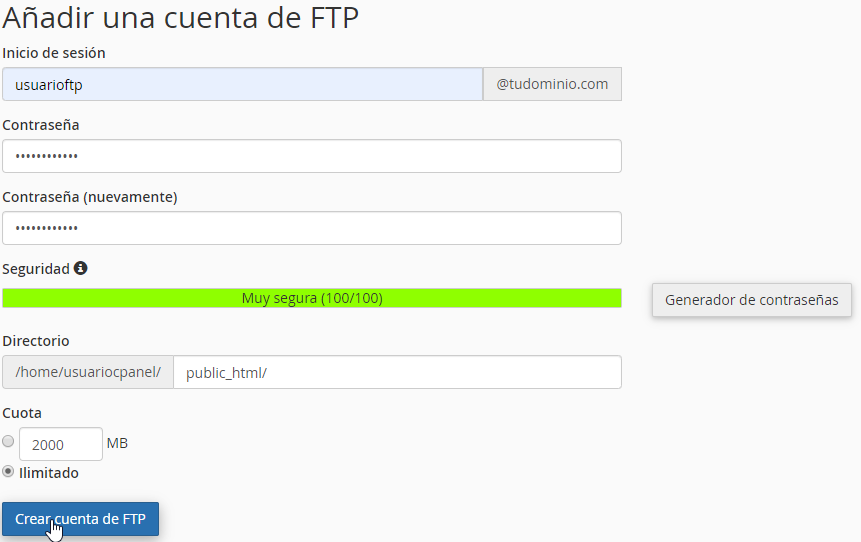 Crear una cuenta FTP en cPanel