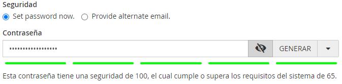 Establecer una contraseña para crear una cuenta de correo en cPanel
