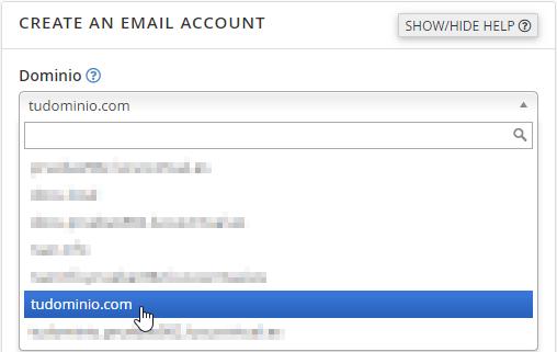 Seleccionar un dominio para crear una cuenta de correo electrónico en cPanel