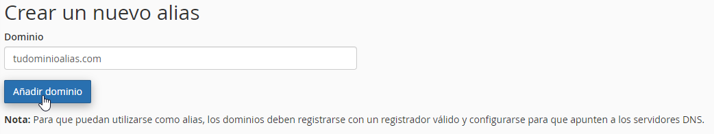 Agregar datos de un dominio alias en cPanel