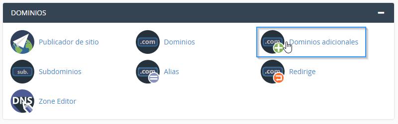 Sección de dominios adicionales en cPanel
