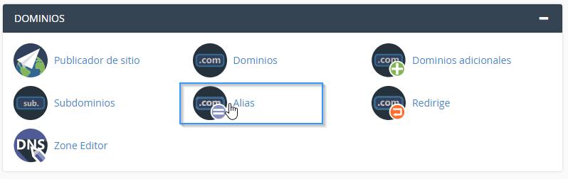 Sección de dominios alias en cPanel