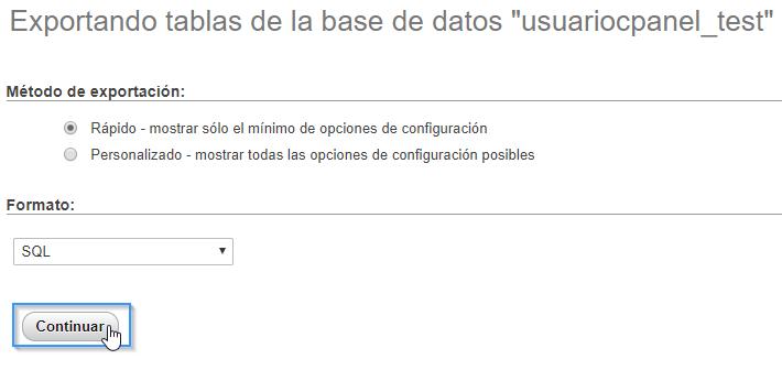Exportar base de datos en phpMyAdmin