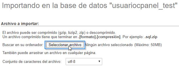 Importar base de datos MySQL