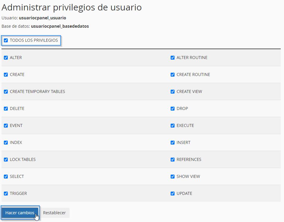 Asignar privilegios a un usuario de una base de datos MySQL
