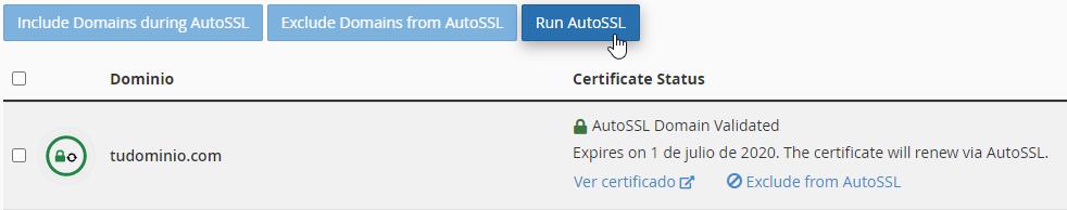 Activar certificado SSL en cPanel con Run AutoSSL