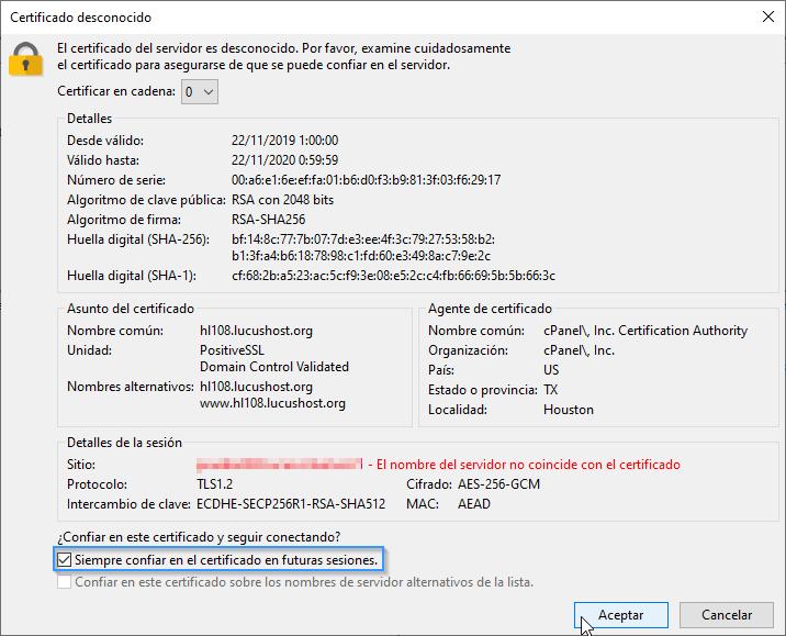 Aceptar certificado de seguridad en FTP