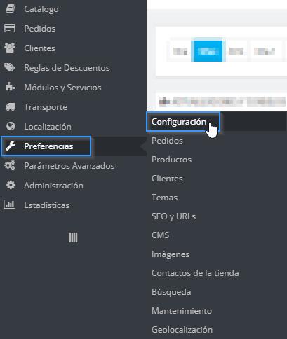 Sección de Preferencias en PrestaShop 1.6