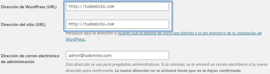 Cambiar la URL de WordPress, de HTTP a HTTPS.