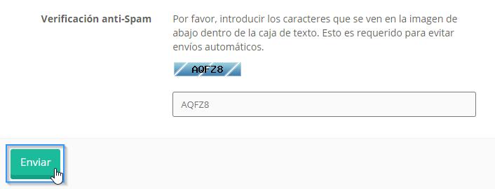 Verificación antispam para abrir un ticket