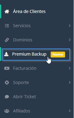 Acceder a Premium Backup a través del área de cliente de LucusHost