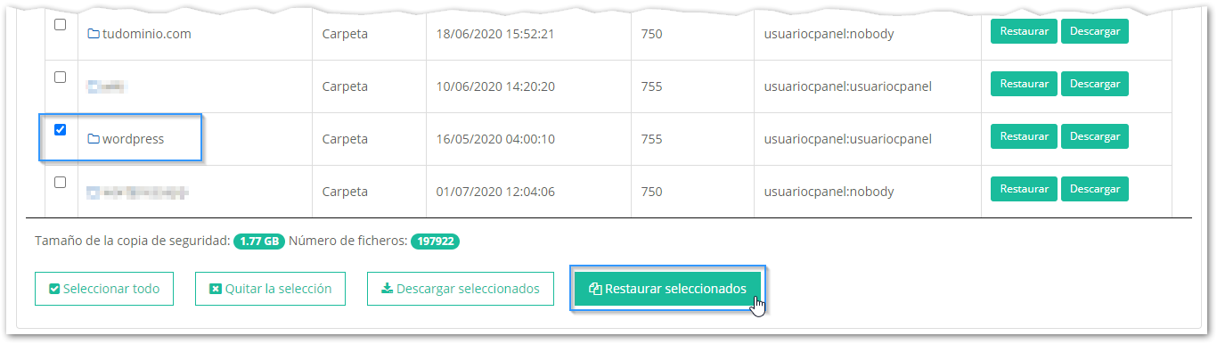 Restauración de varios ficeros o directorios con Premium Backup