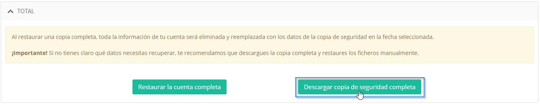 Descargar una copia de seguridad completa con Premium Backup