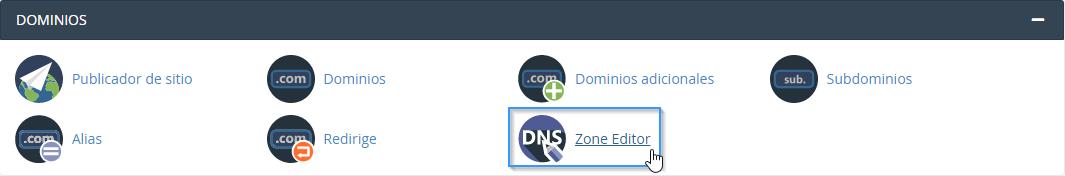 Opción Zone Editor de cPanel
