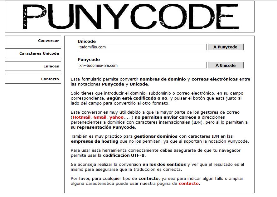 Convertir un dominio con caracteres especiales a Punycode