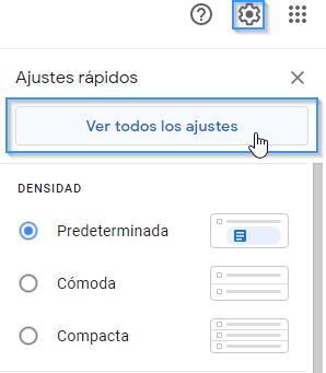Abrir ajustes de Gmail para configurar una cuenta de correo de un dominio propio