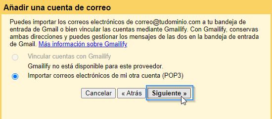 Importar correos electrónicos de una cuenta de correo de dominio a Gmail
