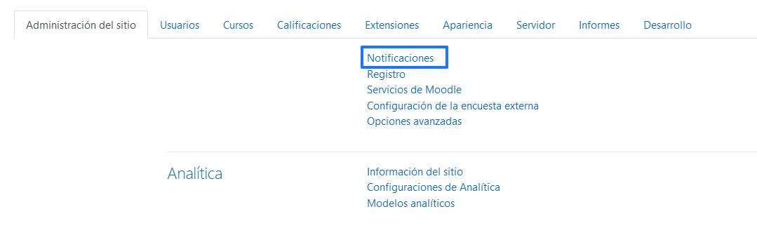 Acceder a la sección de notificaciones de Moodle