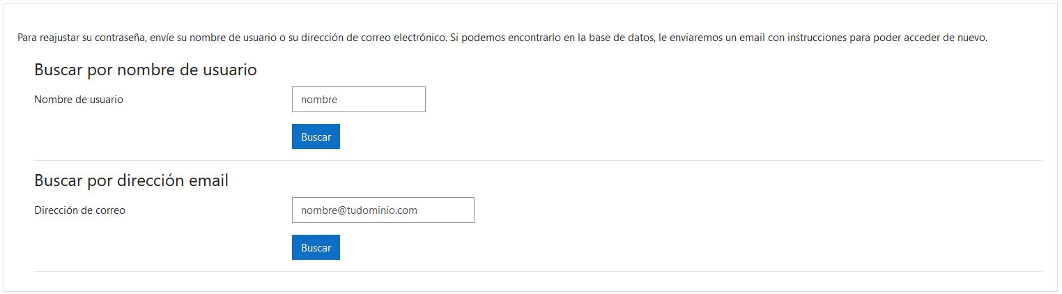 Introducir nombre de usuario o email para regenerar la contraseña de Moodle