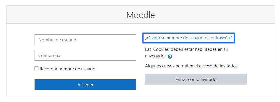 Cómo cambiar la contraseña de Moodle desde la pantalla de login