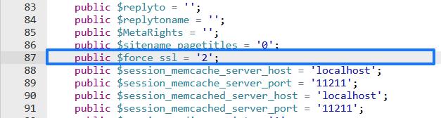 Forzar el SSL en Joomla con el archivo configuration.php