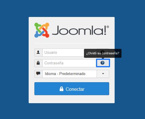 Recuperar contraseña del administrador de Joomla desde la pantalla de login