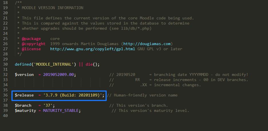 Ver la versión de Moodle desde el archivo version.php