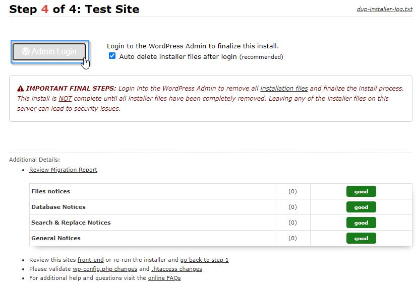 Acceder al admin de WordPress con el plugin Duplicator