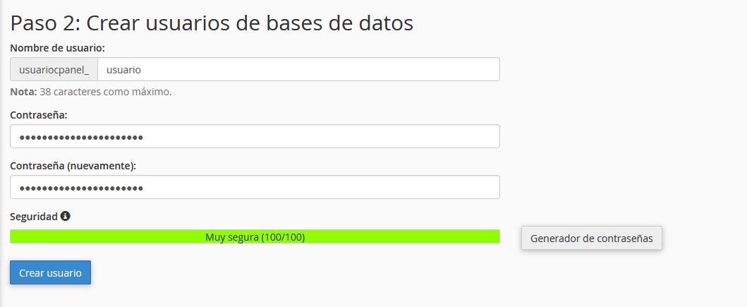 Establecer el usuario que tendrá acceso a la base de datos