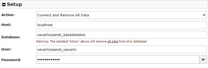Crear conexion con la base de datos con el plugin Duplicator