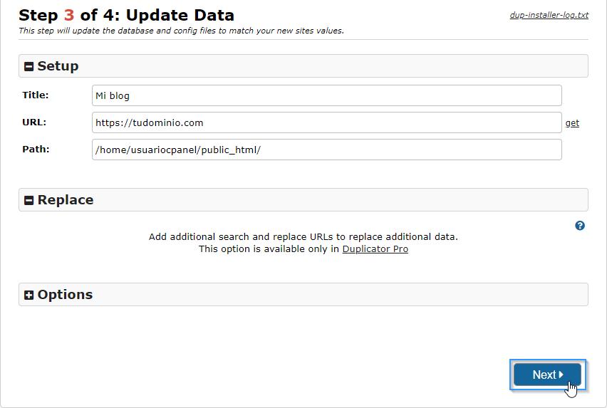 Revisar datos de la instalación de WordPress con el plugin Duplicator