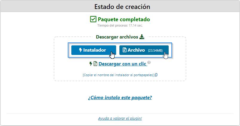 Descargar el contenido de WordPress con el plugin Duplicator