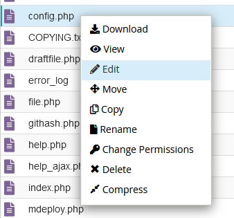Editar el archivo config.php de Moodle
