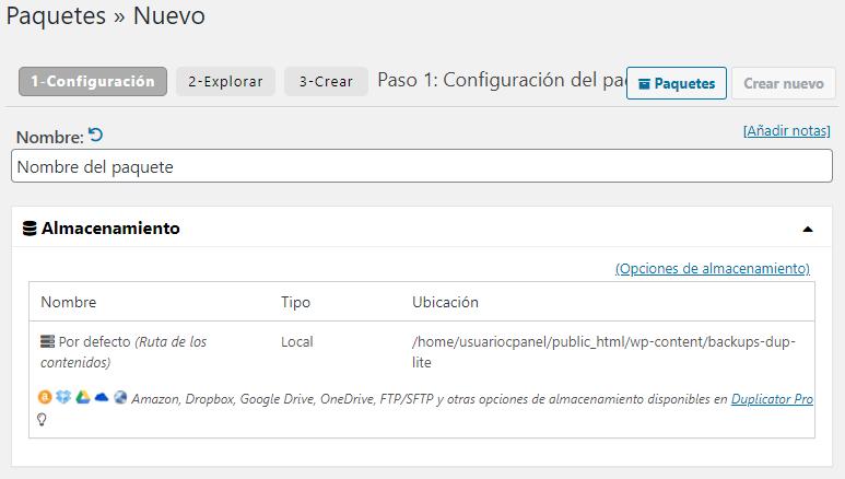 Cubrir el formulario de exportación del plugin Duplicator